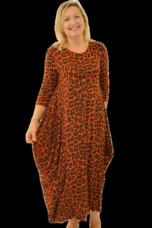Long line leopard print dress, scoop neck