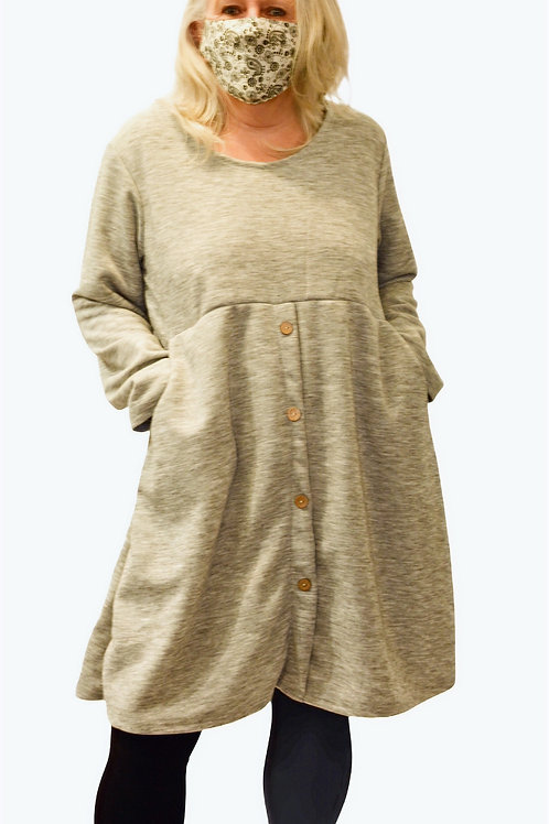 Tunic Dress with Button front and pockets
