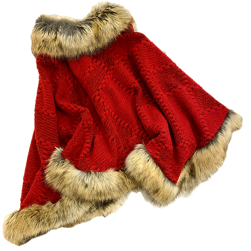 Chunky Knit Fur trimmed poncho
