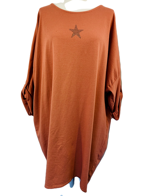 Star fronted Button back jersey dress.