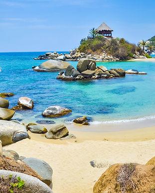 Beautiful bay with white sand beach, blu