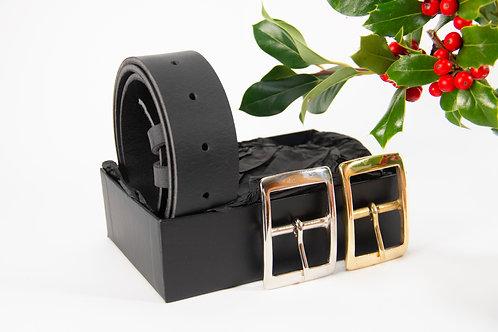 Initialed Black Buffalo Belt, Gift Box