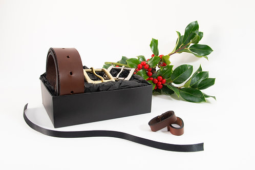 Initialed Brown Italian Belt, Gift Box