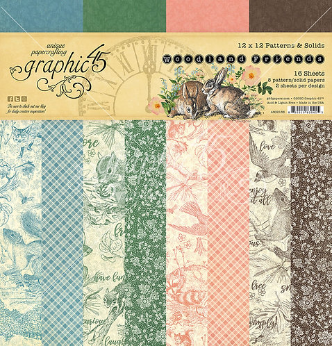 Woodland Friends Patterns and Solids Paper Pad, 12x12, Graphic 45