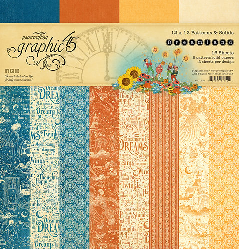 Dreamland Patterns and Solids 12x12 Paper Pad, Graphic 45