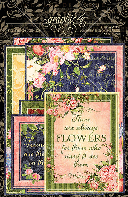 Floral Shoppe Ephemera and Journaling Cards, Graphic 45