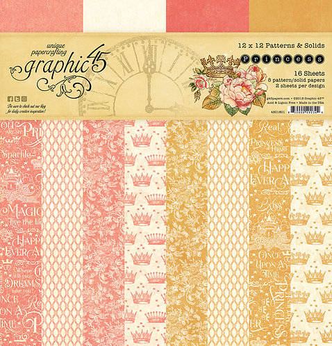 Princess 12x12 Patterns and Solids Paper Pad, Graphic 45