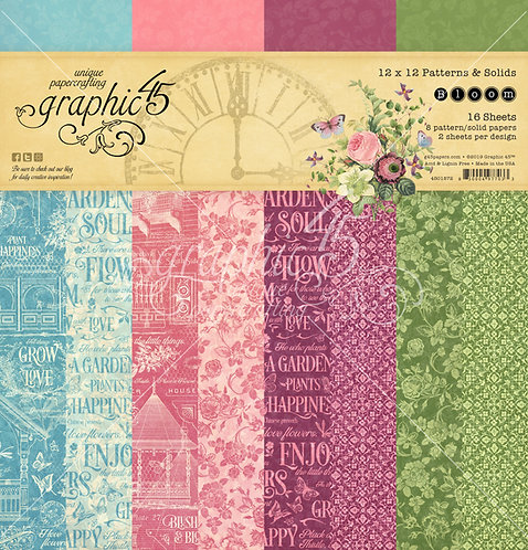 Bloom 12x12 Patterns and Solids Paper Pad, Graphic 45