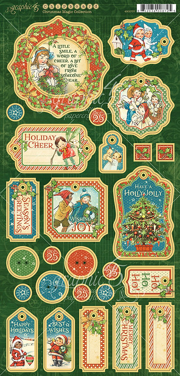 Christmas Magic Chipboard Pieces, Graphic 45