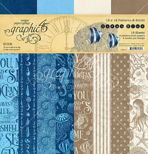 Ocean Blue Patterns and Solids Paper Pad, Graphic 45