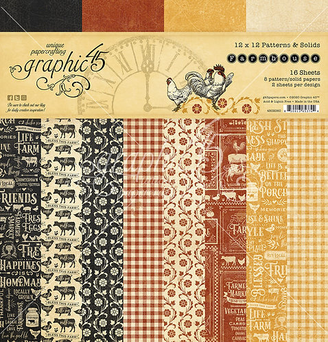 Farmhouse Patterns and Solids 12x12 Paper Pad