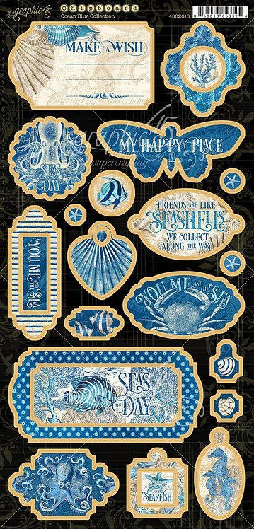 Ocean Blue Chipboard, Graphic 45