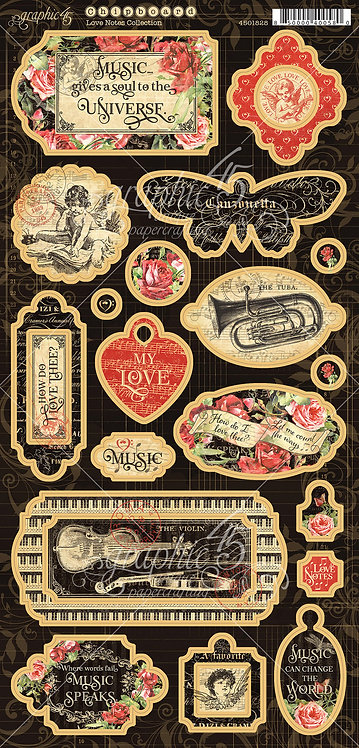 Love Notes Chipboard, Graphic 45