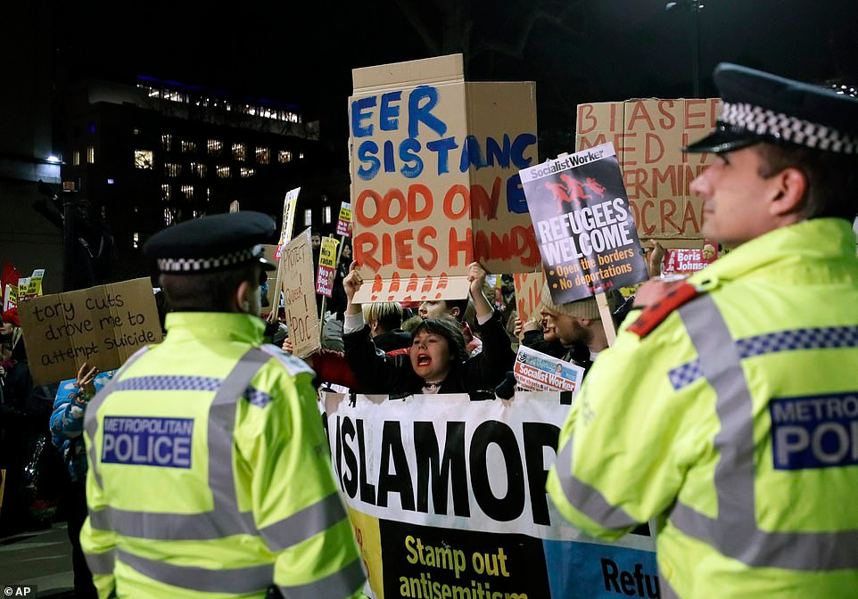 Photos of protests were accompanied by headline 'Sore Losers'.