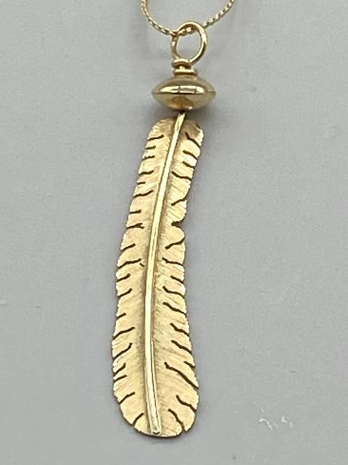 Boyd Tsosie 14K Gold Feather Pendant