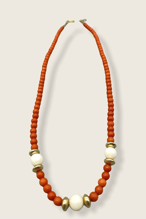 14K gold, coral and white coral necklace.