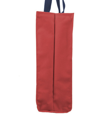 Deluxe Market Bag Red with Navy Handles_