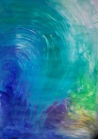 Breath waves, Acrylic on paper, 350€ (sis.alv), Tiina Miinalainen 2019