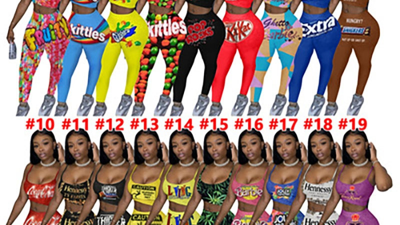 Women's Casual Graphic Print Suspenders Two-Piece Casual Wear Pant Sportswear