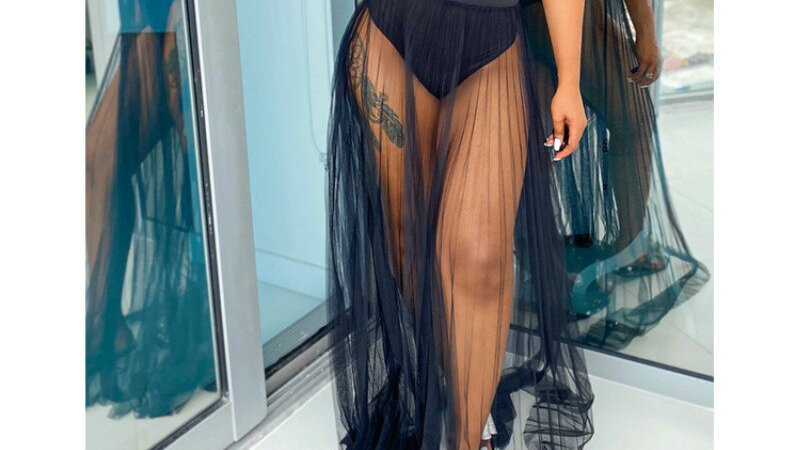 Women 3PCS Strapless Tube Top and Swimming Brief+Mesh Skirt Elastic Waist