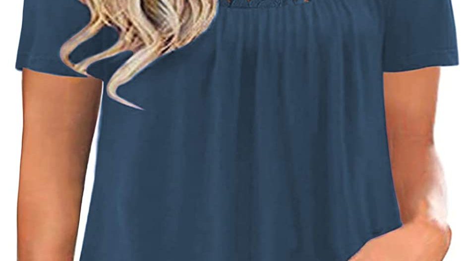 ROSRISS Womens Plus-Size Tops Summer Lace T Shirts Pleated Tunics XL-4XL