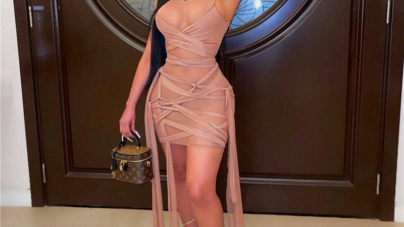 2021 Summer Sleeveless Night Club Party Bodycon See Through Mesh  Dresses