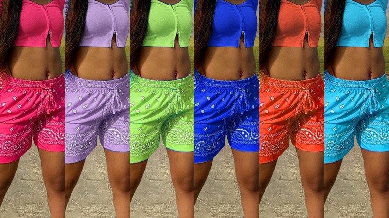 Bandana Print Women Two Piece Set Long Sleeve Crop Top Shorts Sets