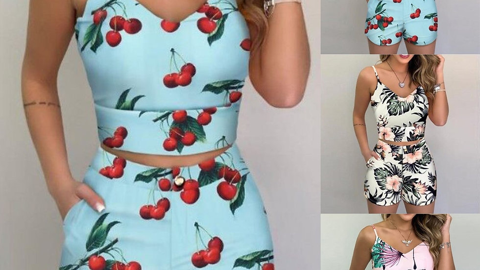 Hot Sale Women's Suits Fashion Women Printed Sleeveless Blouse and Shorts