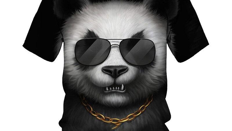 3D Panda Print T-Shirt Men 2021 Summer Short Sleeve Tees