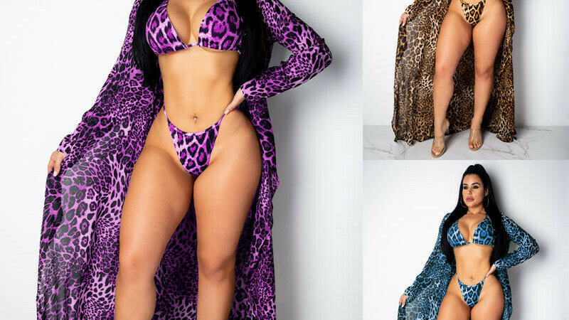3pcs Leopard Print Bikini Set Swimwear Kimono Cover Up Cardigan Beach Swimsuit