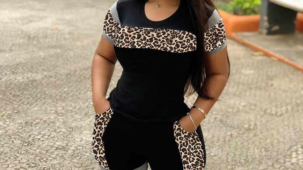 Leopard 2 Piece Suit European and American Fashion Women's Clothing