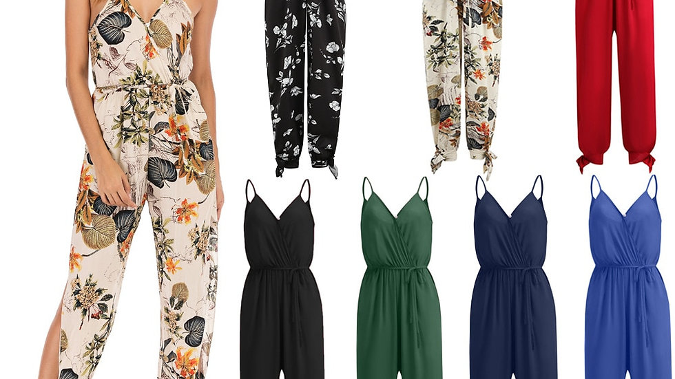 Summer Ladies Suspender Party Romper Long Fashion Women Floral Printed