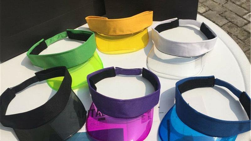 Women Summer UV Protection Sun Visor Plastic Hat Golf Sport Leopard Headband Cap