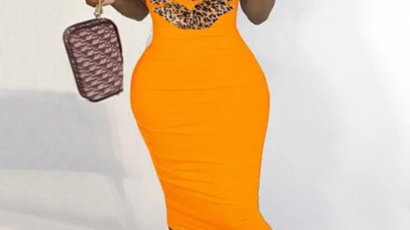 New Summer Fashion Leopard Lips Sleeveless S-5xl Plus Size Dress Sexy Casual