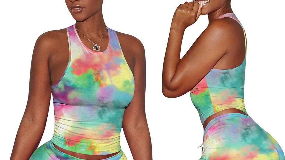 2 Piece Summer Crop Top Women Sets O-Neck Sexy
