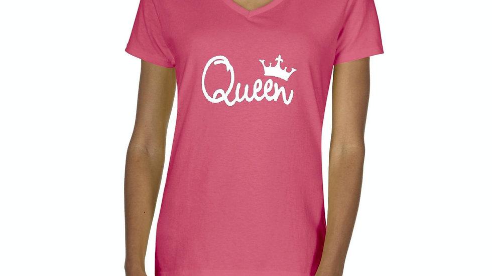 Womens Queen Crown V-Neck T-Shirt