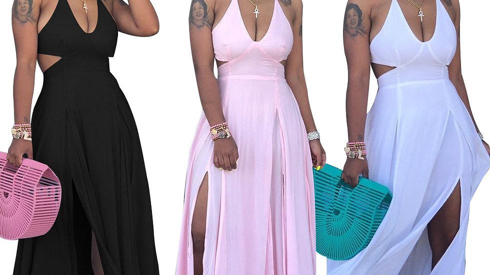 Women Halter V-Neck Open Back High Side Split Dress Long Dresses