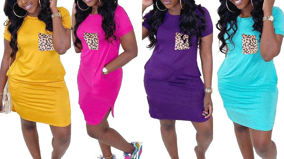 Summer Women Dress Solid-Color Leopard Print Pocket Patchwork Loose Dress