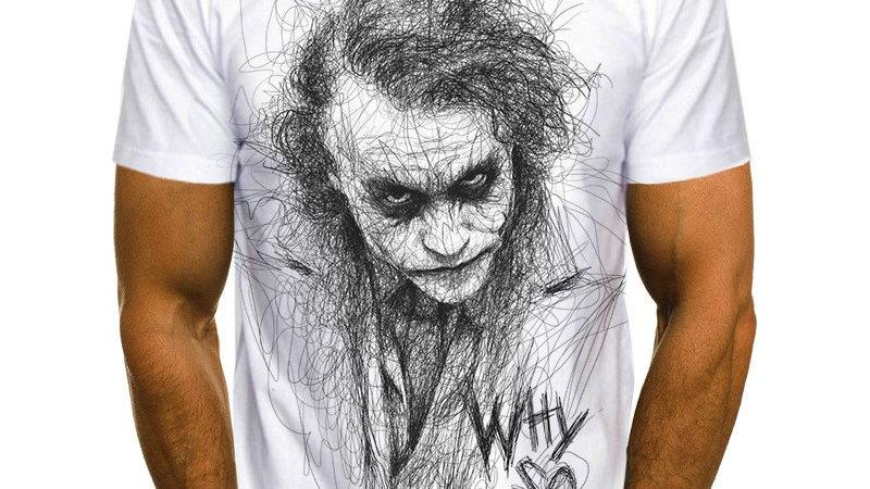 2021 Summer White Clown Joker  Men's T-Shirt Joker Face Male T-Shirt XXS-6XL