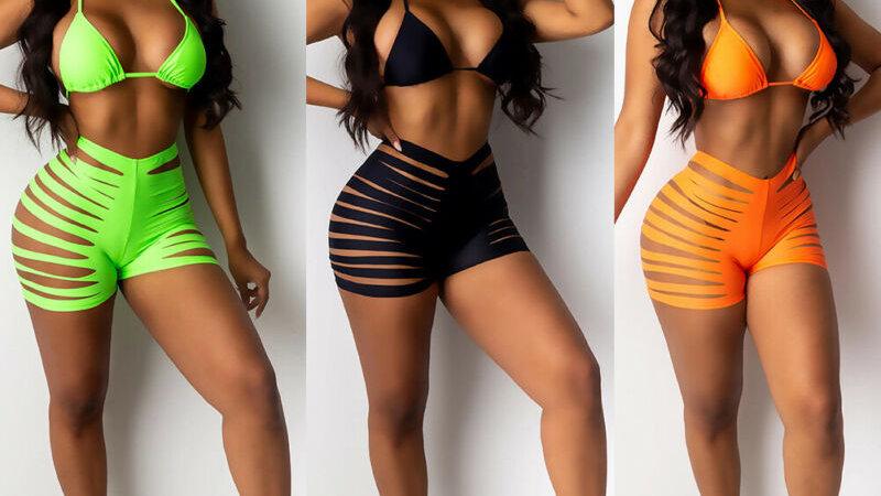 New Women Summer Solid Bikini Set Bandage Swimsuits Hollow Out High Waist
