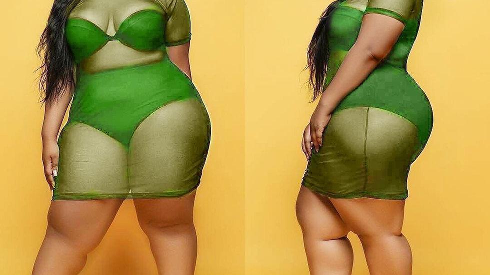 Sexy Perspective Mini Dress Women O Neck Short Sleeve Mesh Sheer Bodycon Dress
