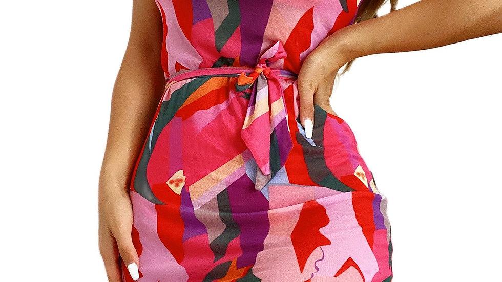 Three Piece Set Swimsuit Red High Waist Printed Beach Dress Bathing Suit