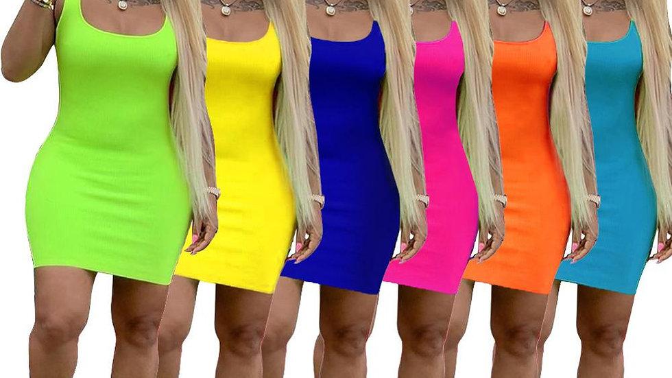2021 Summer Dress Women Summer Casual Solid Basic Bandage Bodycon Dresses