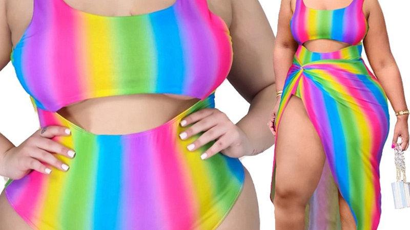 Two Piece Set Plus Size Swimsuit Bikini Sexy Swimsuit Tie Dye Bathing Suit
