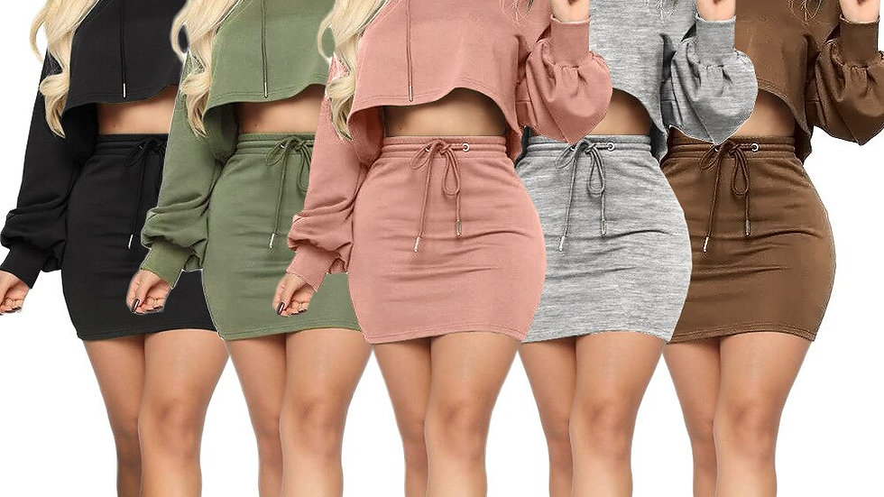 Sexy Skirt Sets Women Drawstring Two Piece Long Sleeve Crop Top and Mini Skirt