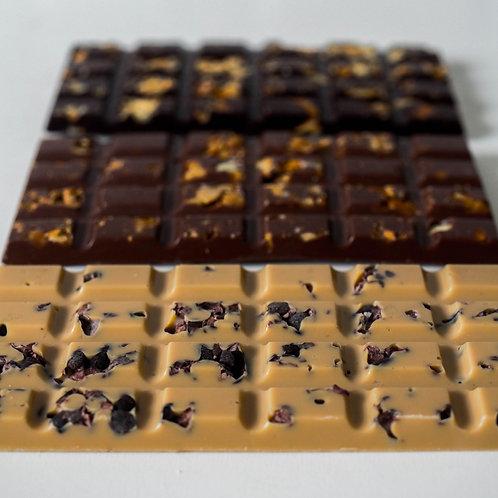 Tablette   chocolat blond   fèves de cacao   fleur de sel