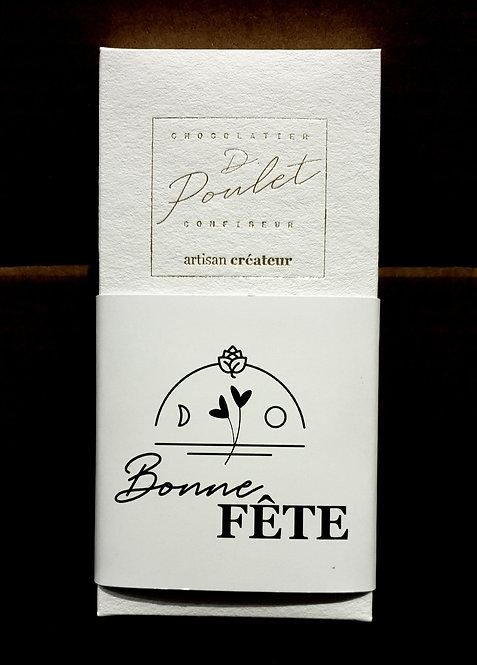 """Tablette """"Bonne fête""""   caramel fleur de sel   praliné croustillant"""