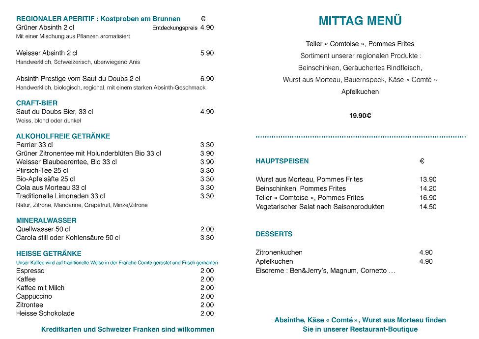 Menu allemand - restaurant saut du doubs
