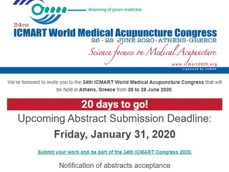 34th ICMART World Congress on Medical Acupuncture (Bildiri Özeti Gönderimi için son günler!)