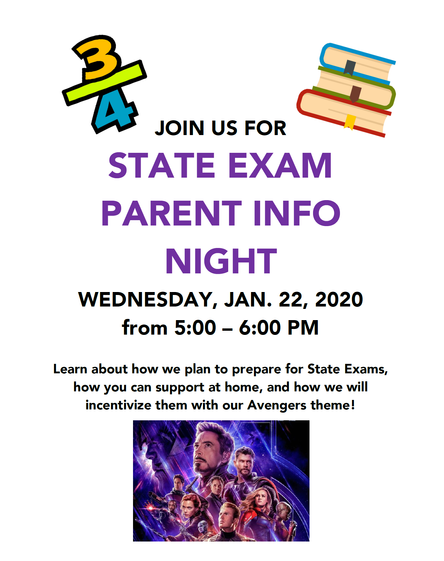 State Exam Parent Information Session - Wed. January 22nd